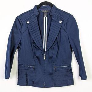 WHBM Navy Crop Sleeve Zipper Jacket Size 6